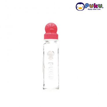 Puku Glass Feeding Bottle 240cc - 10105 [Botol Susu} Pink