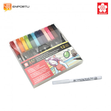 Jual SAKURA KOI Coloring Brush Pen Set 12 Colors + Blender Pen