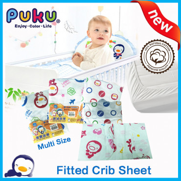 Puku Cotton Play Pan Fitted Crib Sheet Sp91122