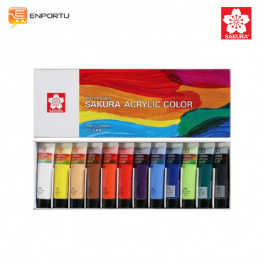 SAKURA Acrylic Color Set 12 Warna