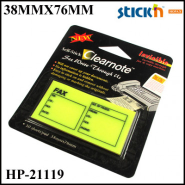 Stick'n Clearnotes (Film) 21119 Fax Memo Pad