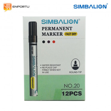 SIMBALION Spidol Permanent Black - 1 Lusin