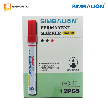 SIMBALION Spidol Permanent Red - 1 Lusin
