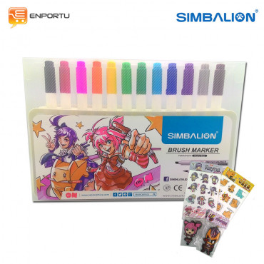 SIMBALION Brush Marker Set 12
